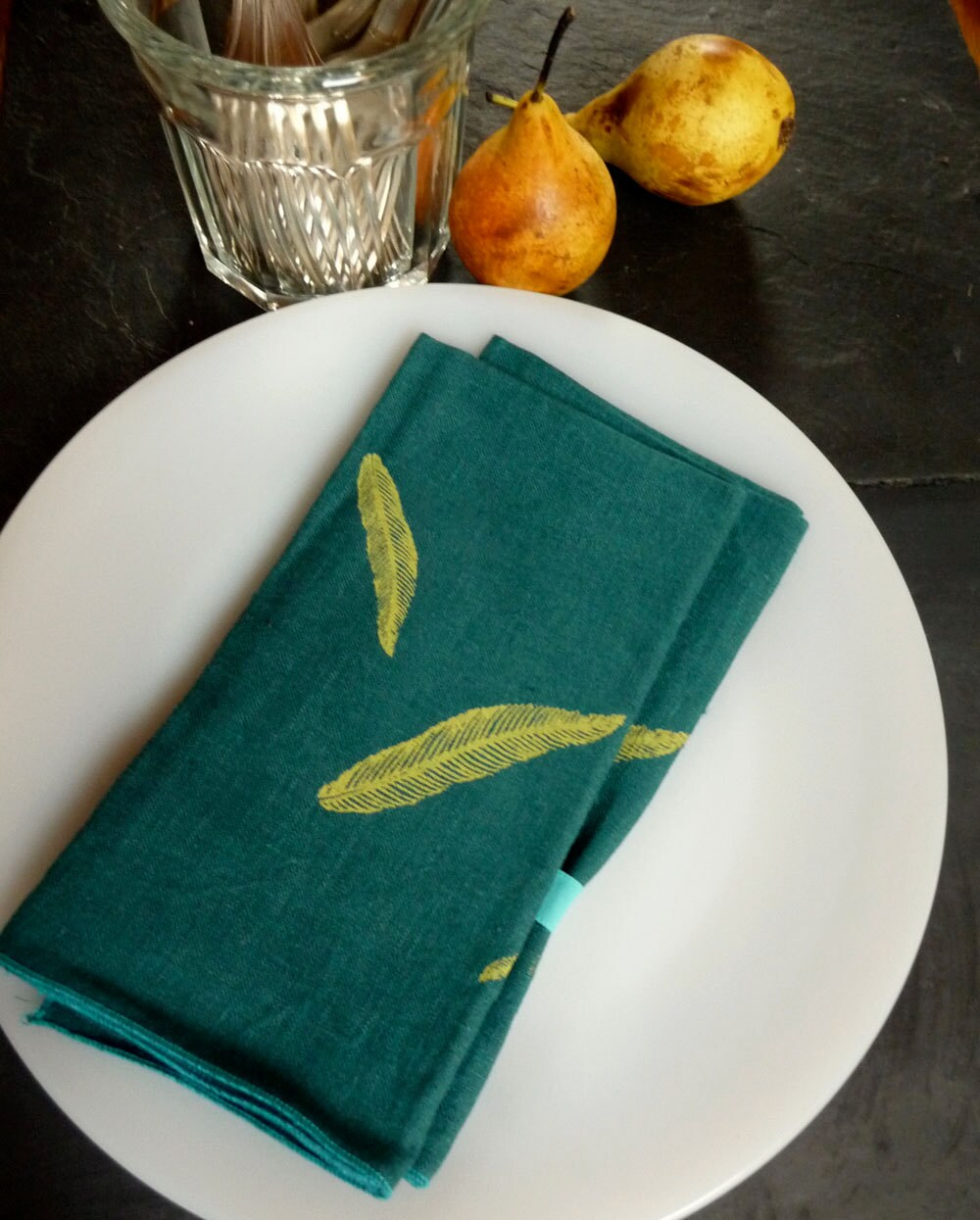 Bondi Blue Linen feathers Dinner Napkins /set of 2