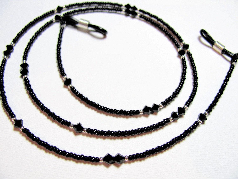 black swarovski beaded eyeglass chain by designerbead