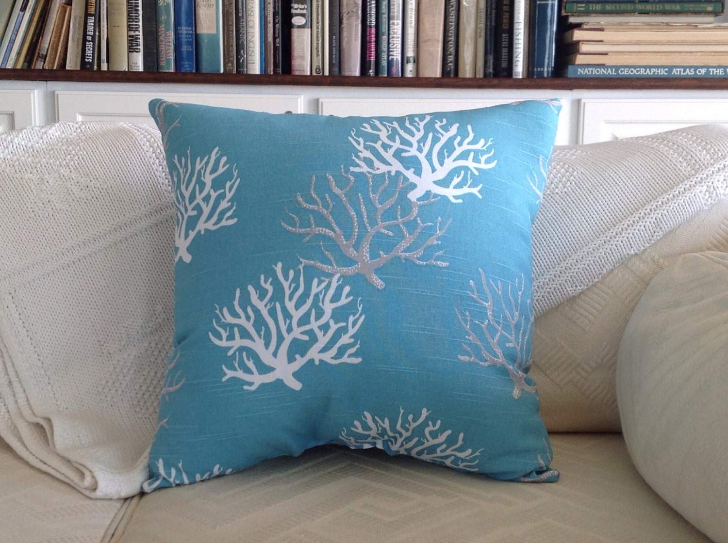 Aqua Blue Coral Throw Pillow Sea Fan Pillow by ByTheSeashoreDecor