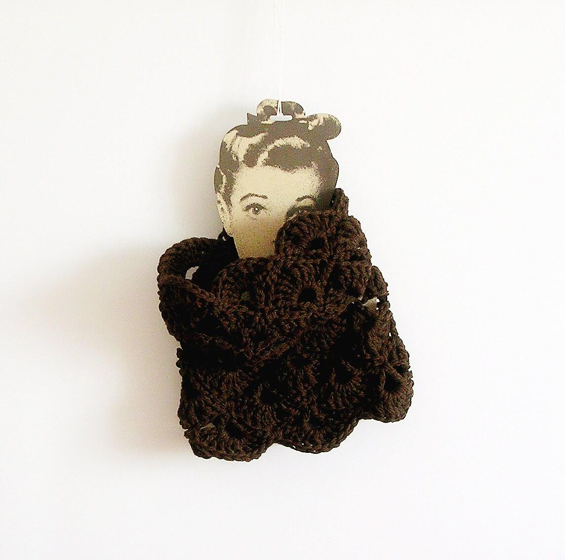 Brown Lace Scarf  Chunky Neckwarmer Cowl - callmemimi