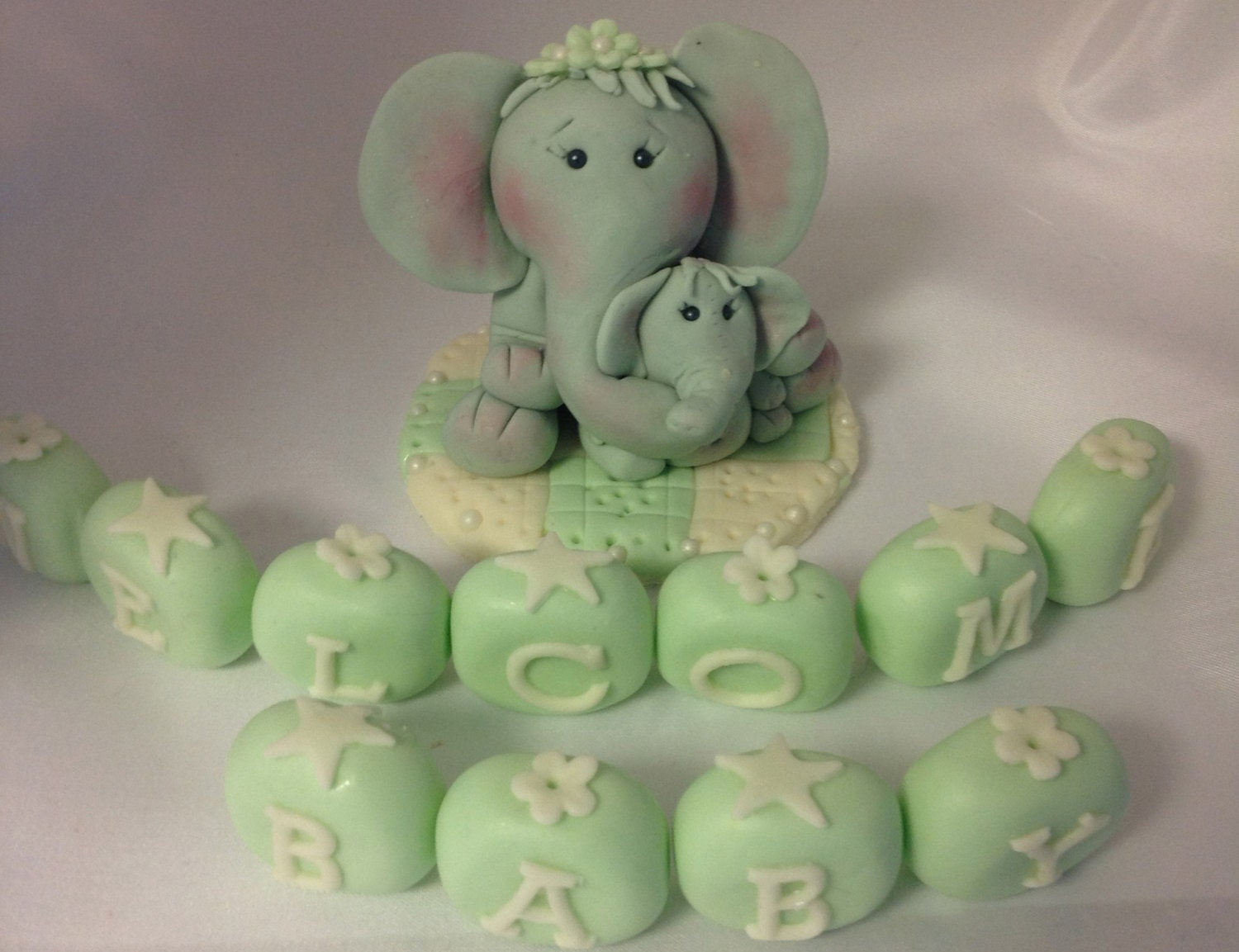 welcome baby elephant cake topper baby shower baby boy elephant mama