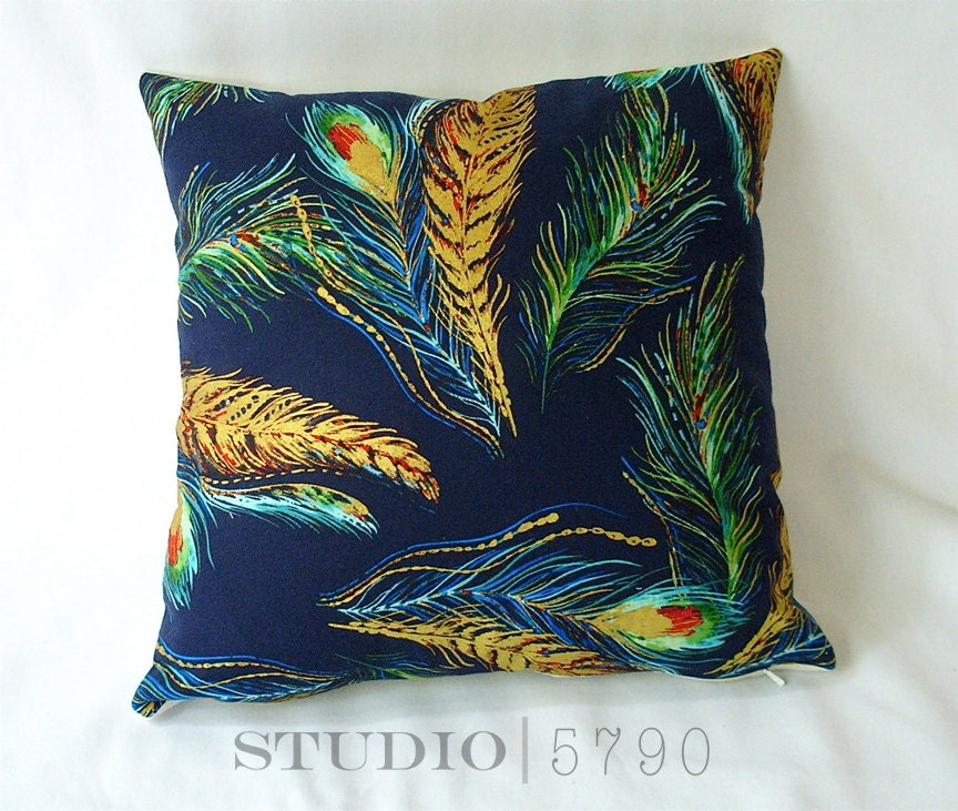 Items similar to Throw Pillow Cover Navy, Gold, Teal, Red. Gilt Feathers Pillow case, 16 inch ...