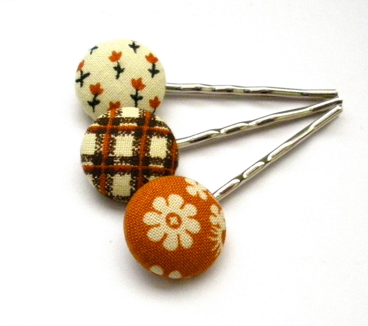 Fabric Button Bobby Pins, Fall - FromtheHeartbyAmber