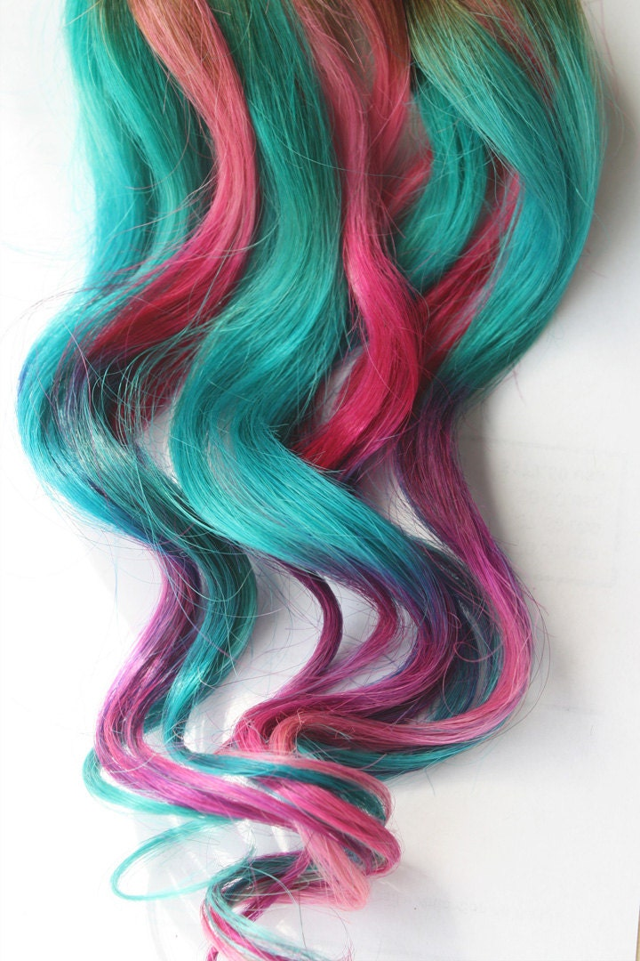 Teal Tye Dye Clip In Hair Extensions, Ombre Hair, Tye Dye Tips, Hair ...