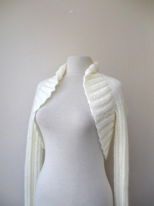 Ivory shrug bolero knit mohair 3/4 sleeve or by KnitAndWedding