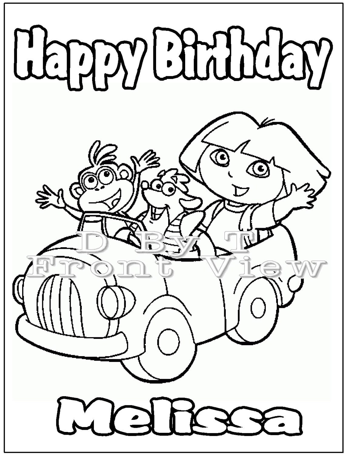 Items Similar To Personalized Dora Inspired Coloring Book Card Favor Digital PDF Printable On Etsy