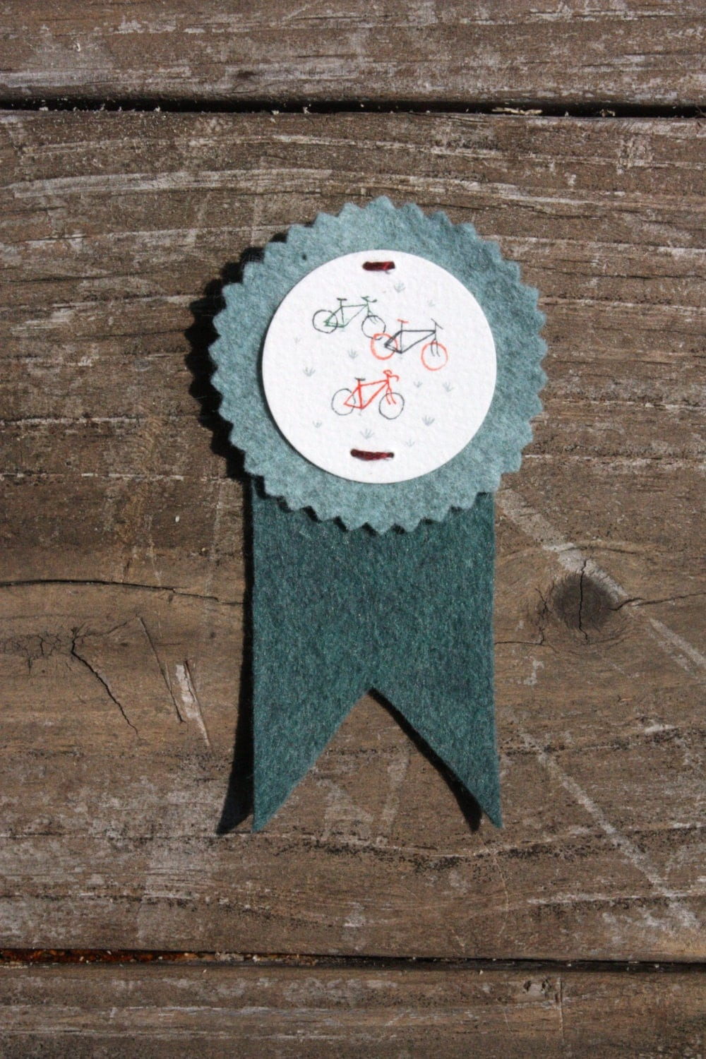 Bicycles - Hand Painted Watercolor & Felt : Illustrated Prize Award Ribbon Button . Pin - twamies