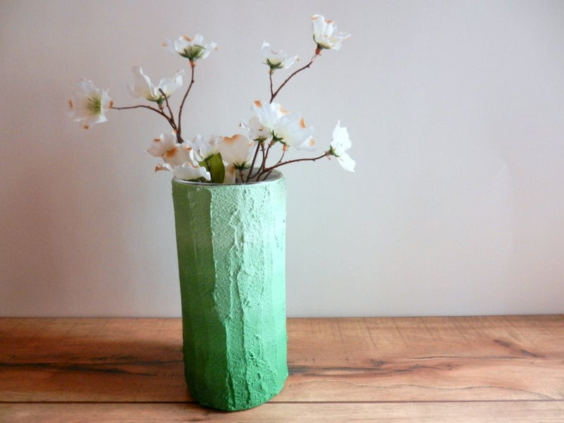 Green ombre Vase / Green home decor / handcrafted vase / green flower vase / cylinder vase - CarriageOakCottage