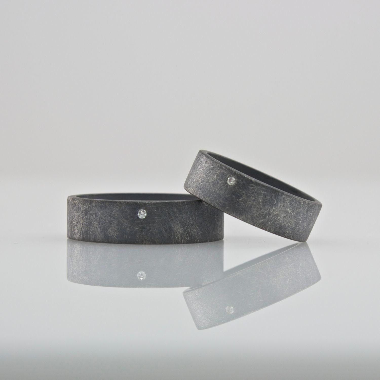 Wedding Ring Set - Blackened Silver and White Diamond - Oxidized - Matching Wedding Bands - Minimalist - Modern Sterling Silver Jewelry - CocoandChia