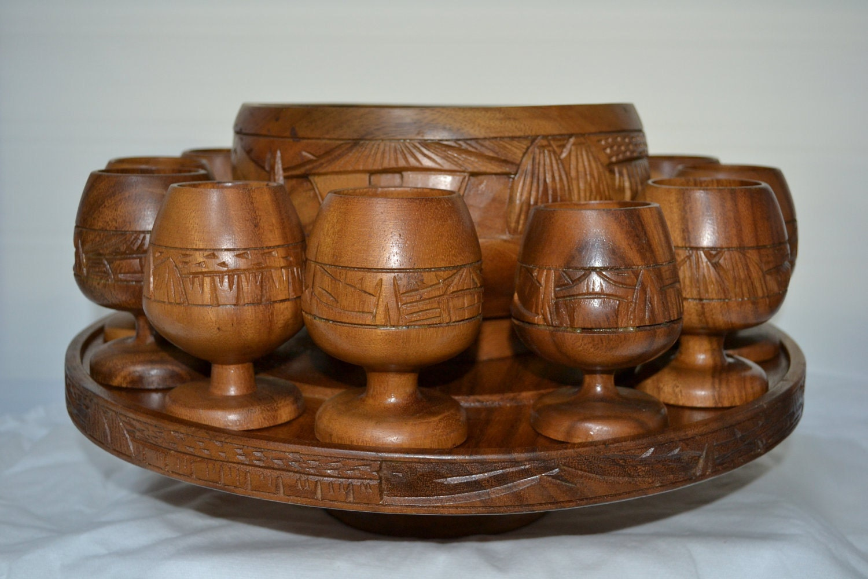 Vintage Carved Wooden Punch Bowl Set