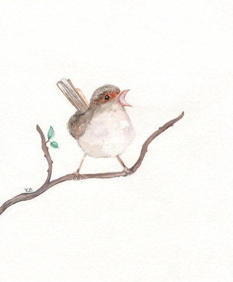 Sing/ Singing Bird/Wren Bird Watercolor print/brown