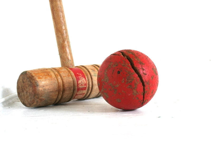 Vintage Croquet Mallet and Ball Red