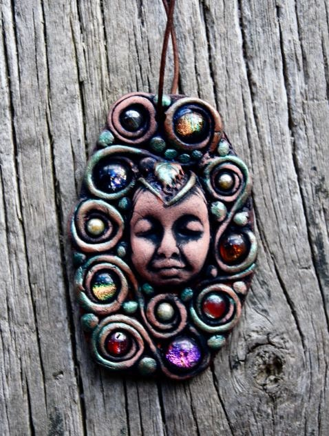Queen of Abundance Handcrafted Clay Pendant