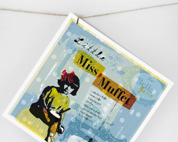 Name Art - Little Miss Muffet - Nursery Rhyme 8 x 8 Print, Personalized baby nursery - Humperdincks