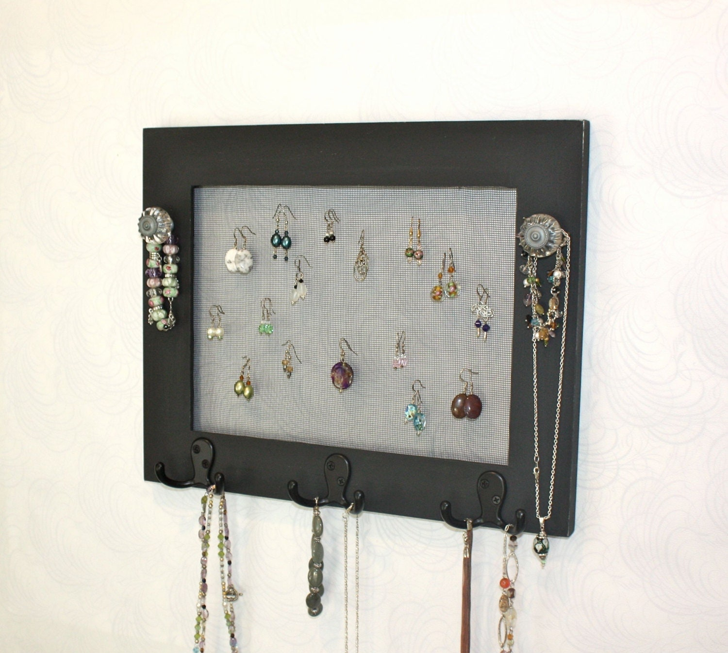jewelry display earring organizer wall mounted by onthewallusa. Black Bedroom Furniture Sets. Home Design Ideas