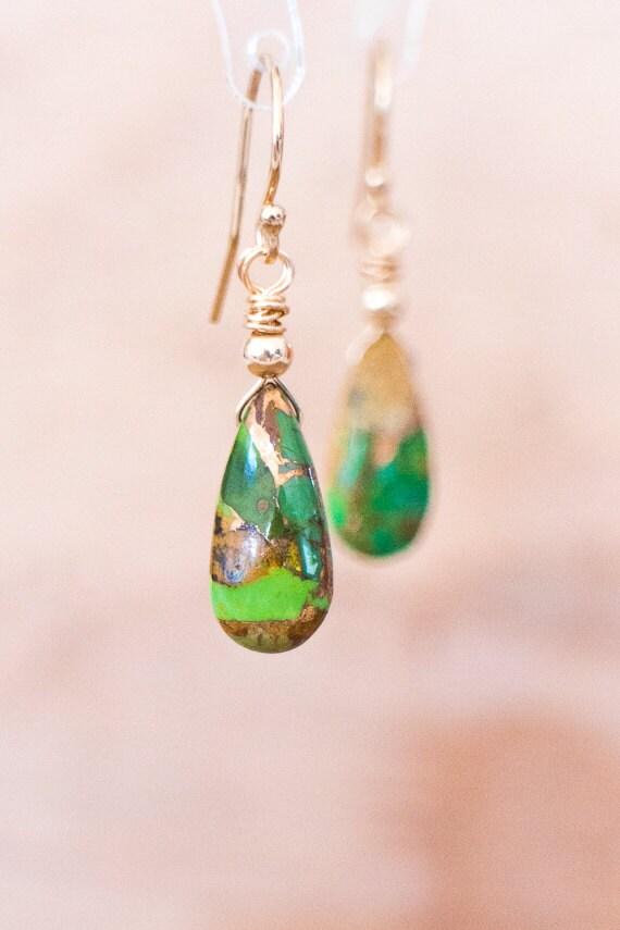 Green Copper Turquoise Drop Earrings Mojave Green Turquoise Earrings December Birthstone Genuine Turquoise Jewellery Green Drop Earrings