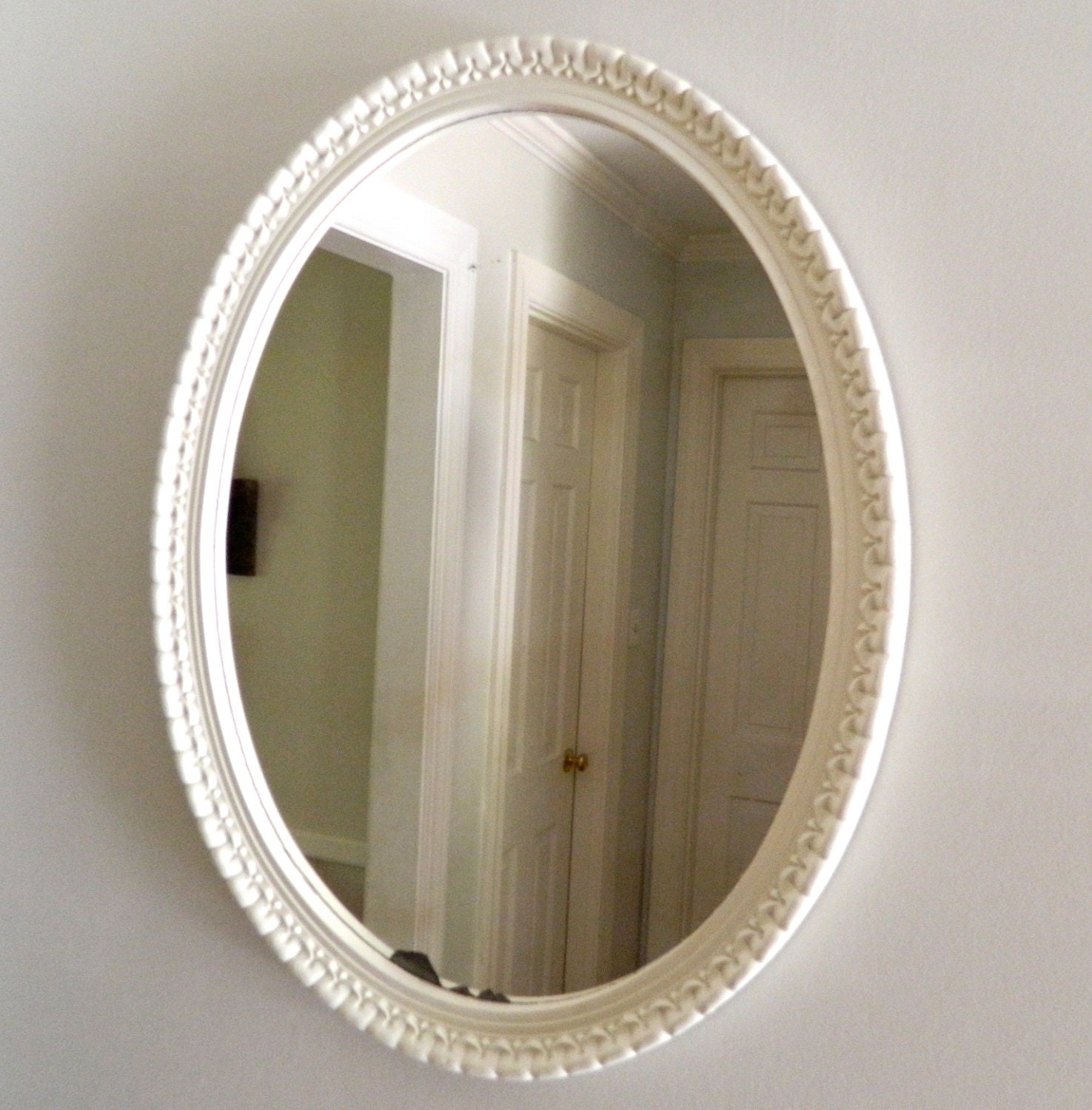 Vintage mirror oval white shabby chic wood by alwaysmaybevintage