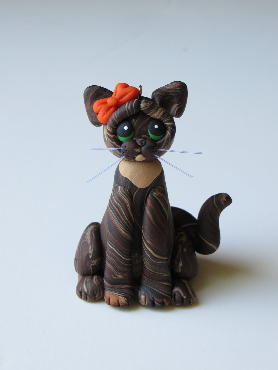 Polymer Clay Figurine Christmas Ornament Cat Brown Tortie Tabby - HeartOfClayGirl