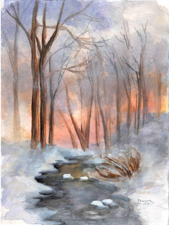 Original Watercolor Painting Winter By Windingroadgallery