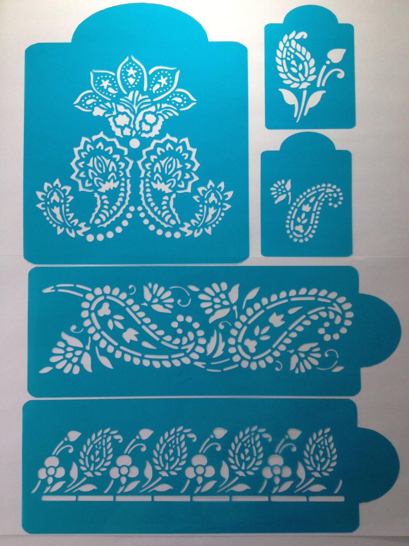 Mehndi Cake Stencil : Henna tier set pieces cake stencils by stenciland