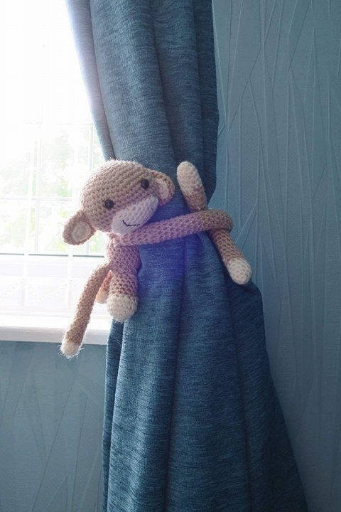 Made to Order Cheeky Monkey Crochet Curtain Tie Back Baby Shower Baby Gift Nursery Decor Monkey Amigurumi