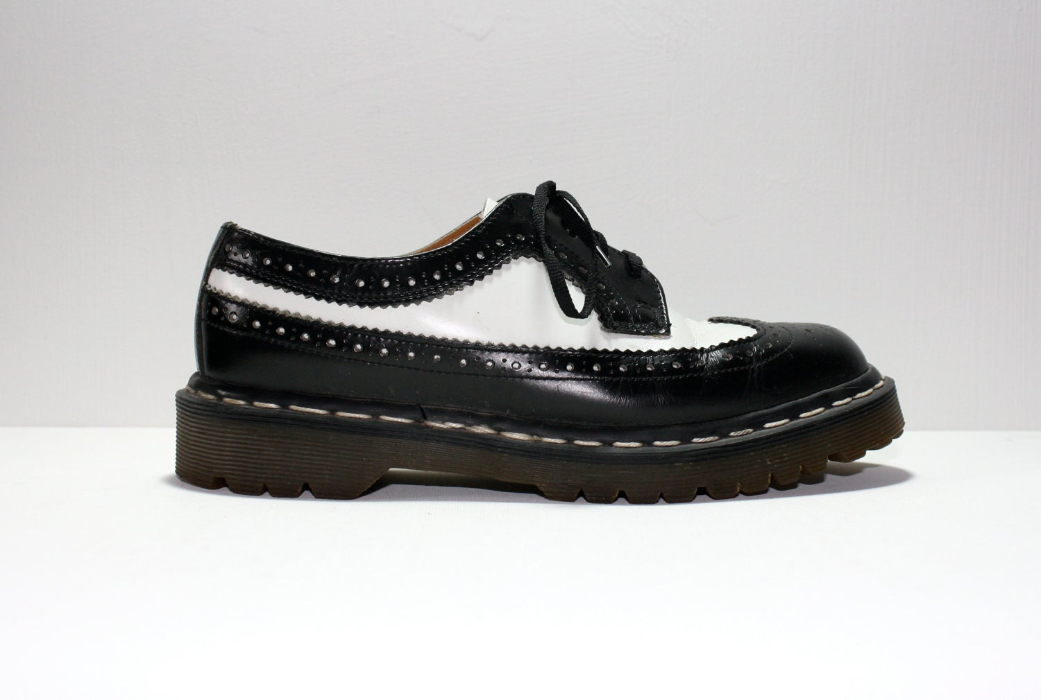vintage 90s dr marten black and white brogue wingtip by