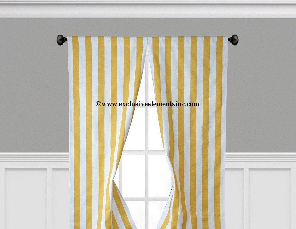 Curtain Panels Yellow And White Stripe By Exclusiveelements