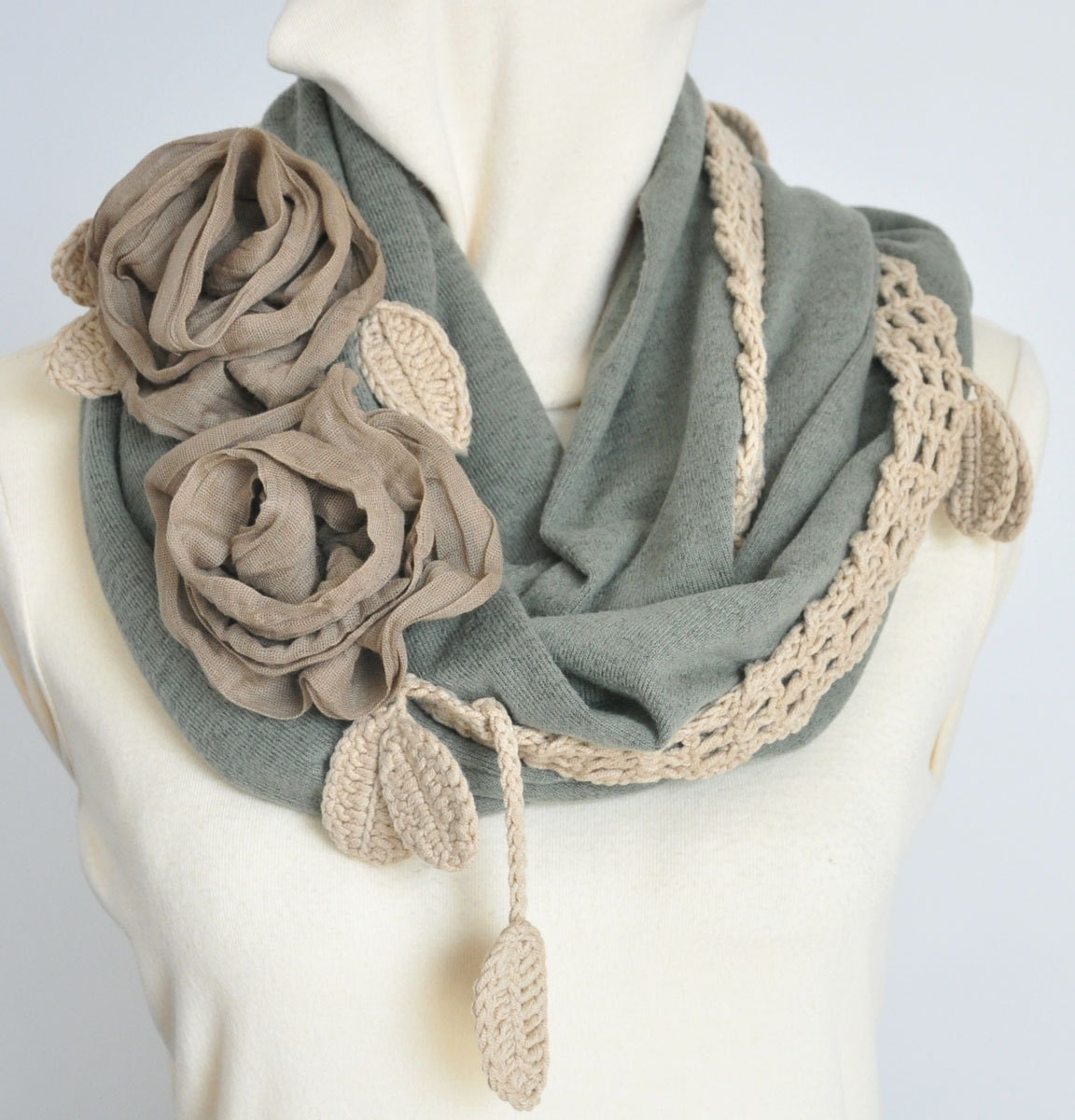 FLORAL JERSY - Green - Crochet Lace and Jersy Tube Scarf/ Shawl/Shrug