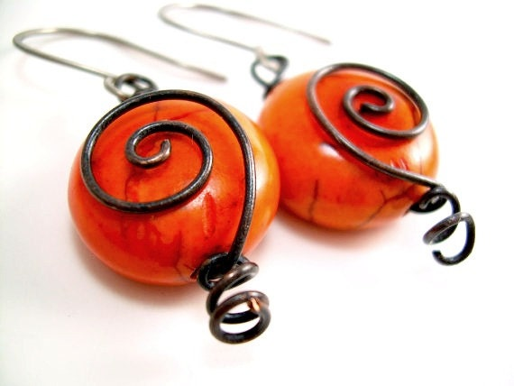 Black and Orange Earrings Black and Orange Jewelry Orange and Black Jewelry Orange and Black Earrings Spiral Earrings Black Wire Earrings - KiawahCollection