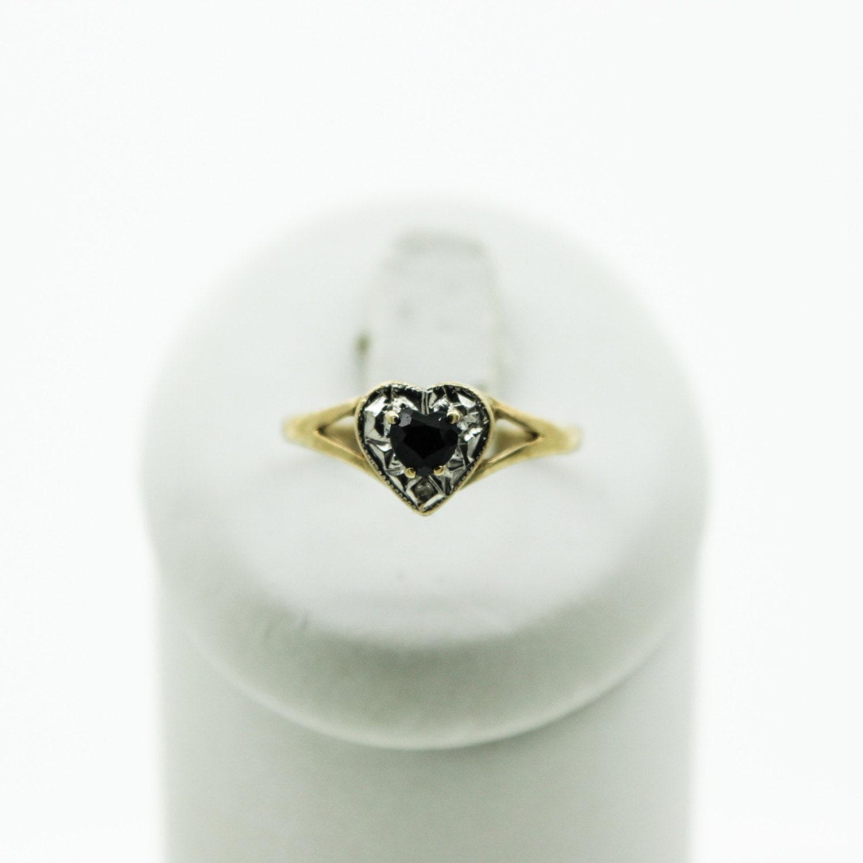 A Heart Shaped Sapphire And Diamond  Ring   SKU918