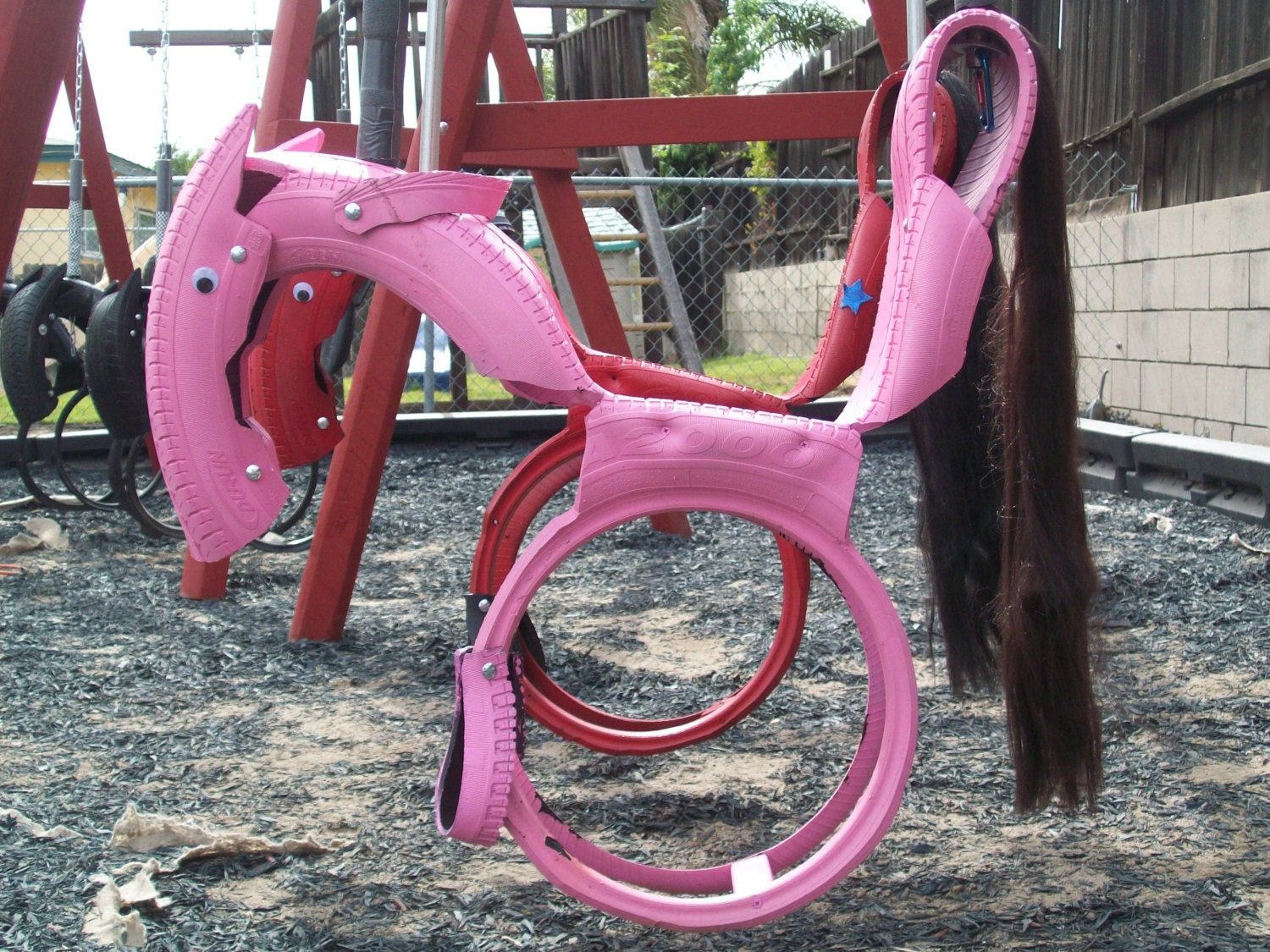 Eco-Friendly Recycled Tire Horse Swings - (99 dollars) - Handcrafted, Safe, Strong, Kids, Family, Gift, Multiple Colors Available - TireUpCycles