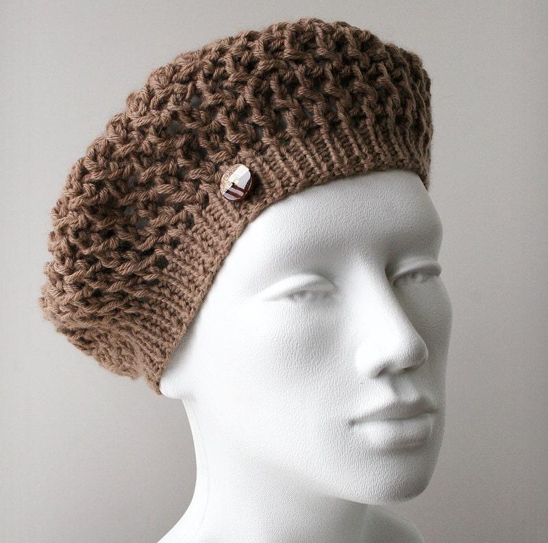 Knit Hat - Luxurious Merino Wool, Alpaca, Cashmere Beret / Tam - Beige - TickledPinkKnits