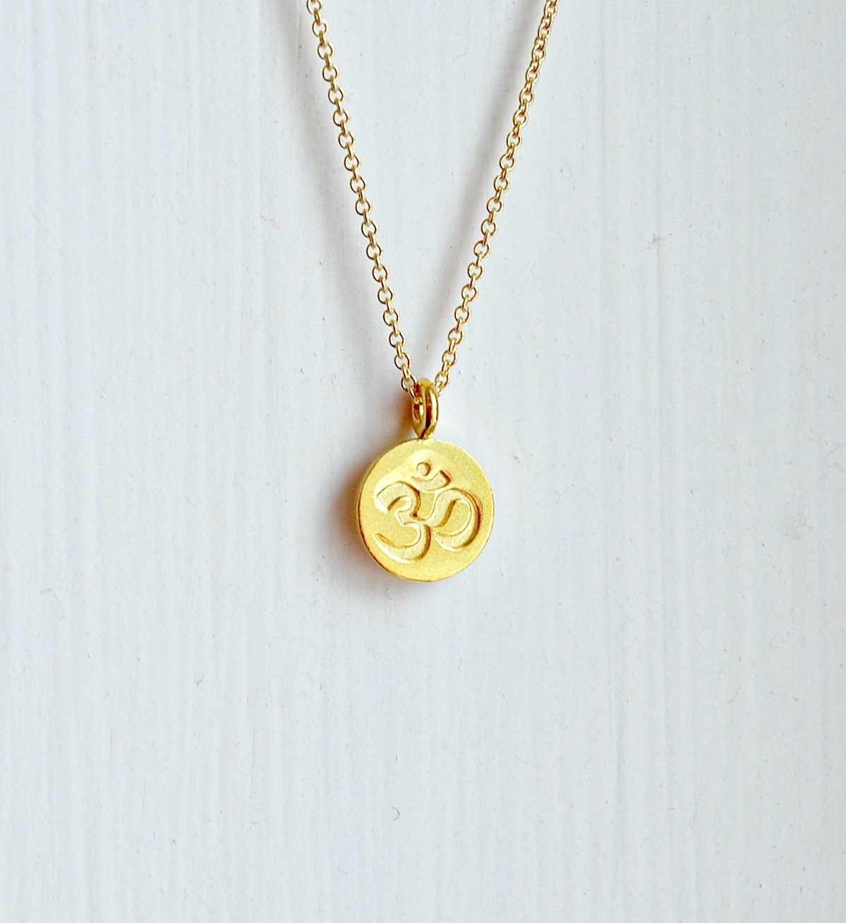 ohm necklace small om symbol pendant gold by