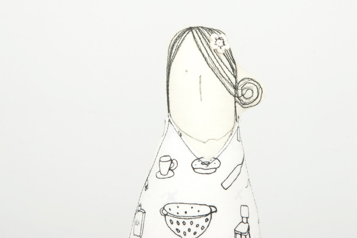 Soft sculpture Woman doll - handmade Black and white cloth eco doll With hair flower Wearing  dress with a pattern of thoughts