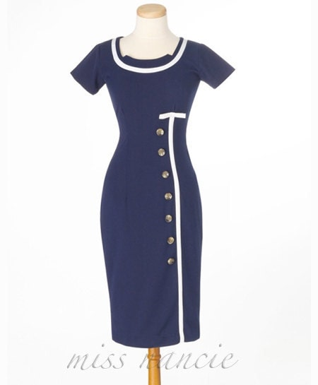 Cute buttoned Pencil dress Mad men Reproduction Joan dress wiggle