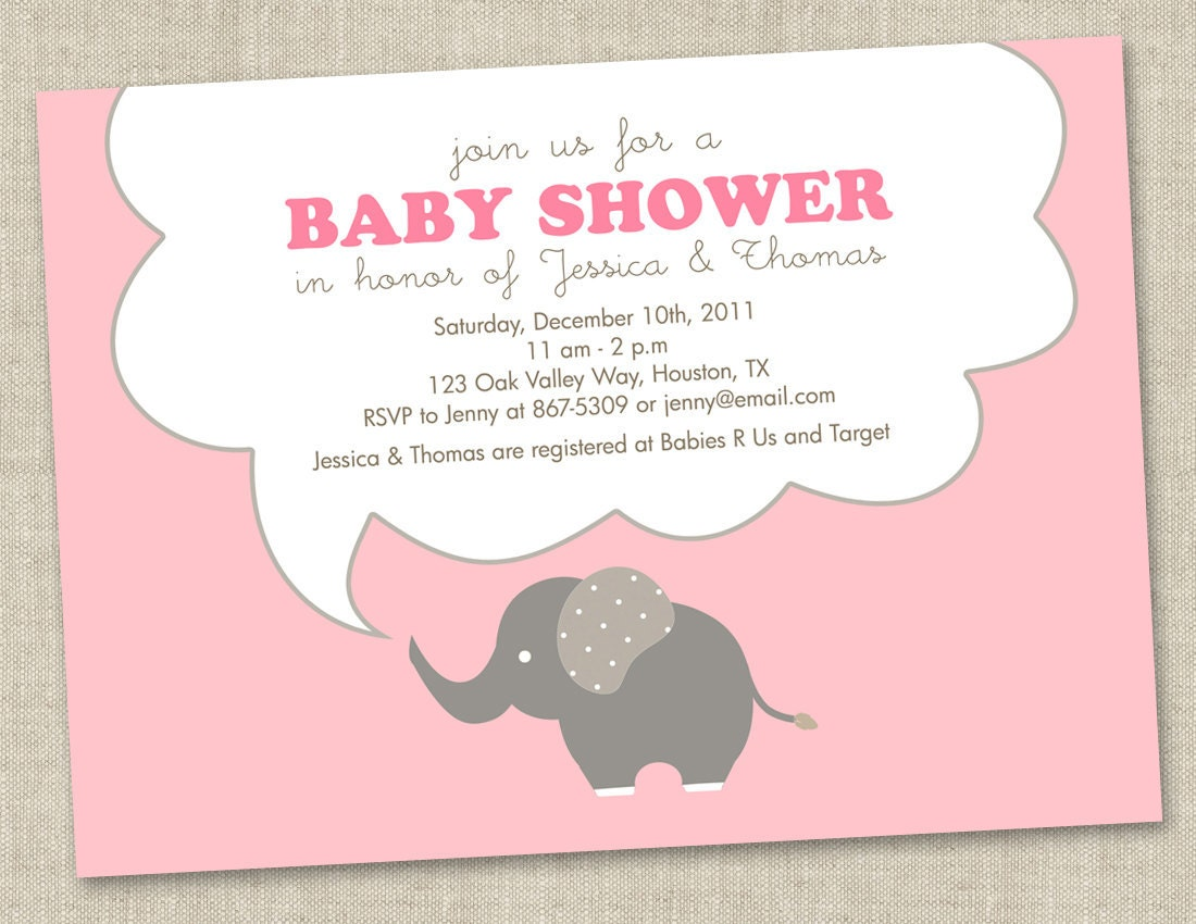 pink elephant baby shower invitations baby girl by miragreetings