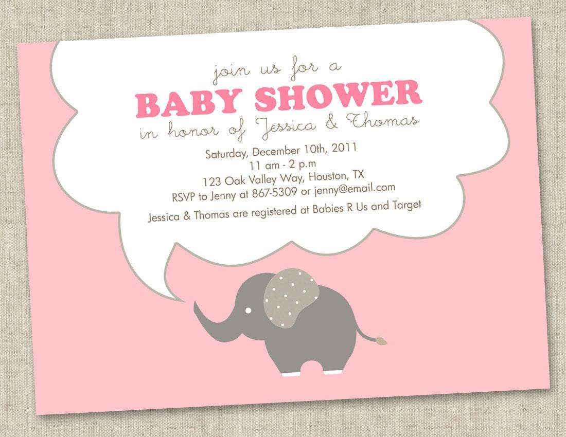 elephant baby shower invitations baby girl invites gender neutral