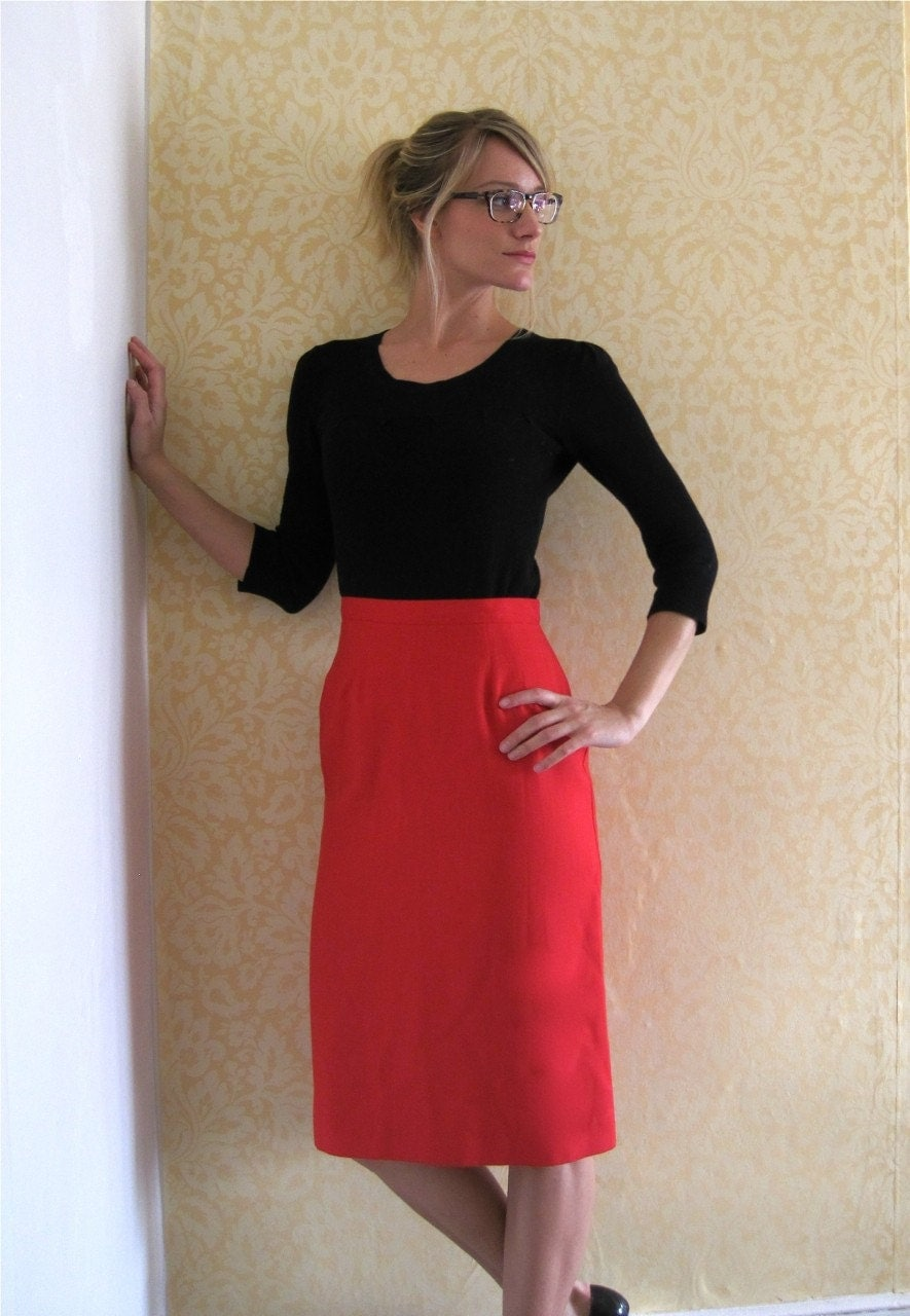 apple pencil skirt by thistletreevintage on etsy