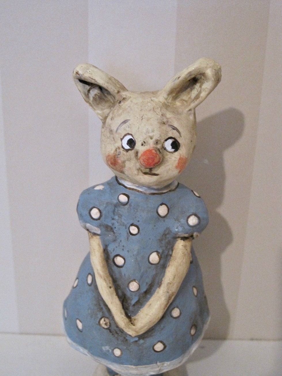 rabbit papier mache folk art handmade art doll by joannabolton. Black Bedroom Furniture Sets. Home Design Ideas
