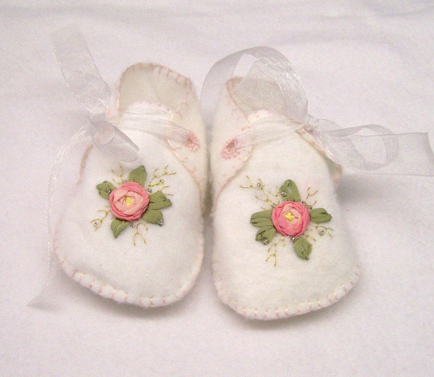 Silk ribbon embroidery baby booties by debidesigns on etsy