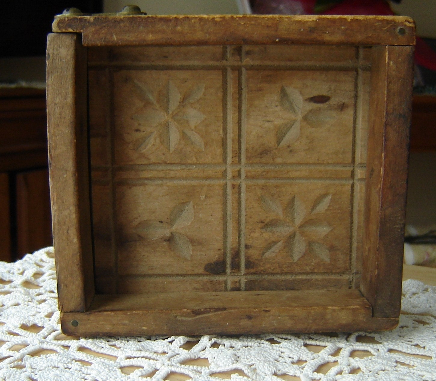 Antique wooden butter mold in box by vintageschoolhouse