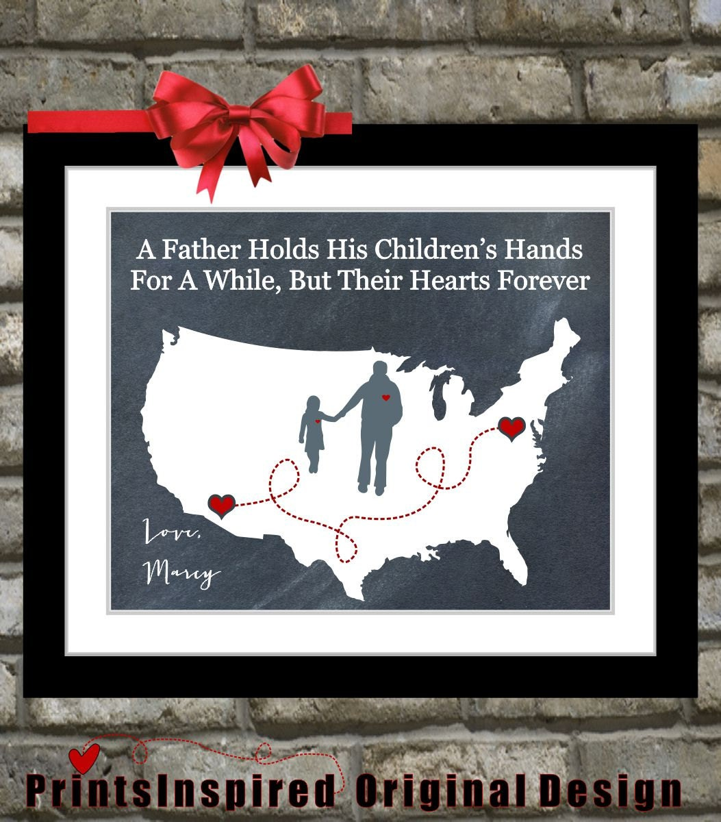 Gift For Dad Birthday Distance Map Hearts Father By