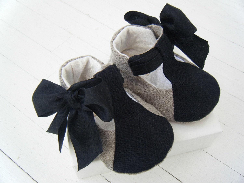 Органическое белье конопли и черный шелковый T-Strap Lissette обуви для вашего ребенка девушка