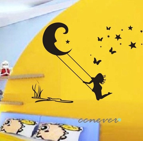 On moon stars removable graphic art wall decals stickers home decor