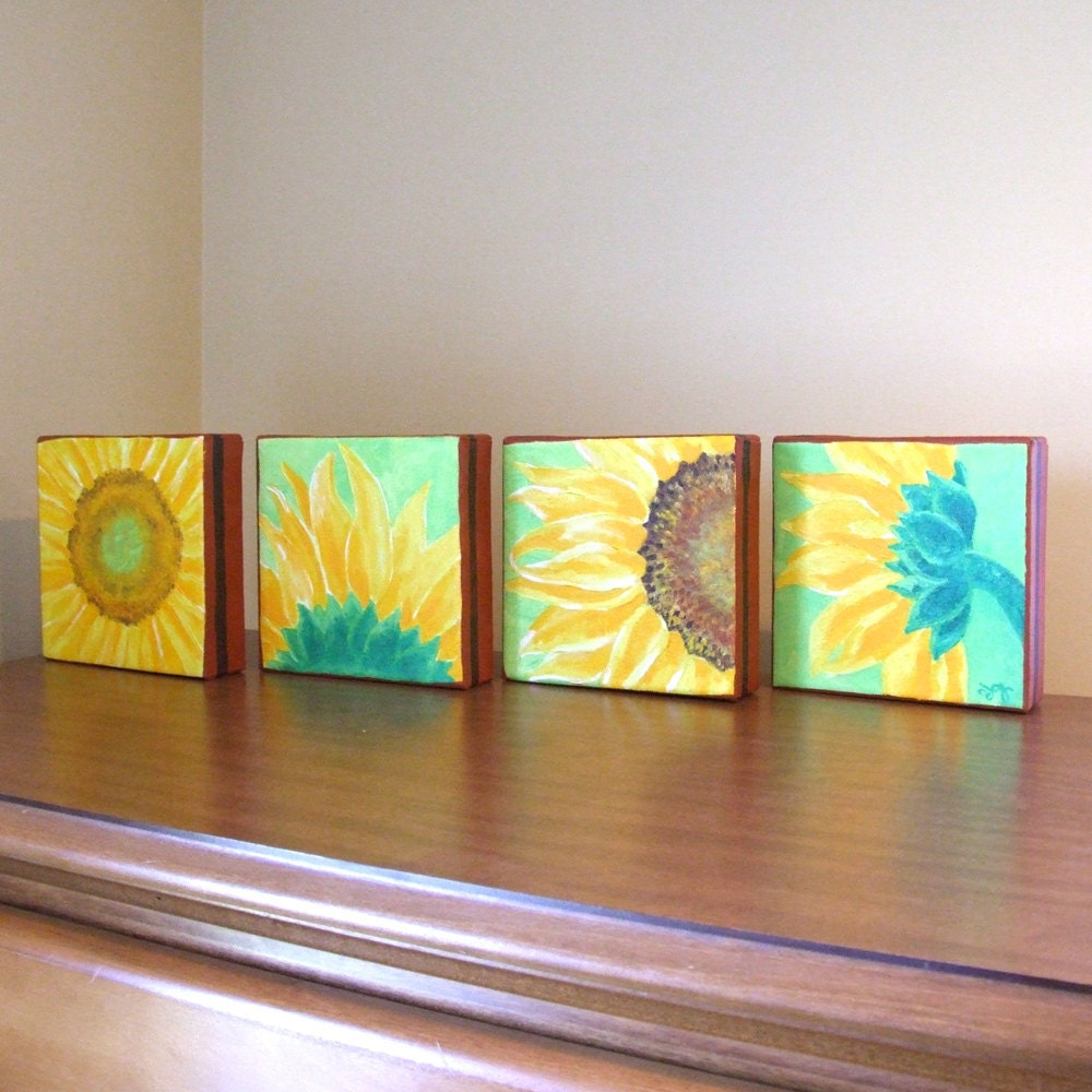 Original Painting SUNFLOWERS Four 6x6 acrylic canvas by