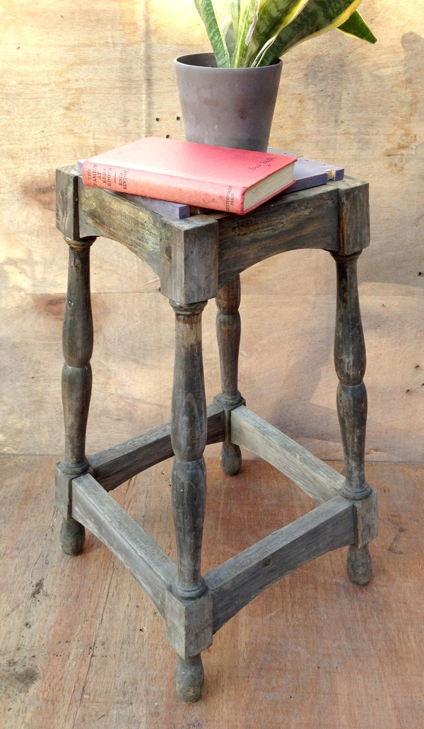 Upcycled Rustic Wooden Stool Side Table Bedside By
