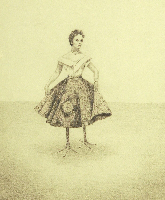 Surreal Drawing Bird Lady Human Bird Hybrid by StudioLavaan