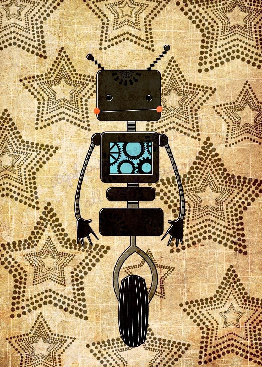 Kids robot art black robot art print by thefoxandtheteacup for Robot baby room decor