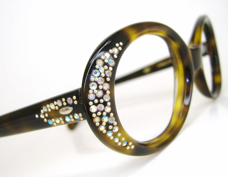 Womens 60s vintage olive rhinestone cat eye by ...