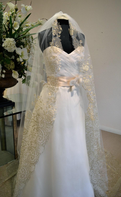 Gold Lace Mantilla Veil, Cathedral Length Wedding Veils, Ivory Cathedral Veil, Wedding Veil Mantilla Lace Cathedral Veil